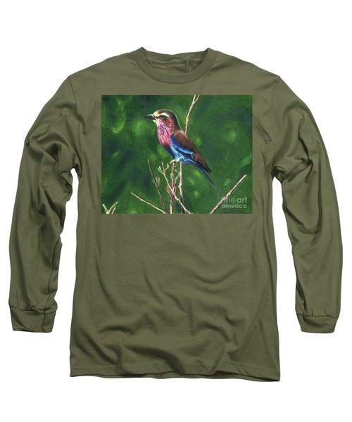 Purple And Blue Bird Long Sleeve T-Shirt