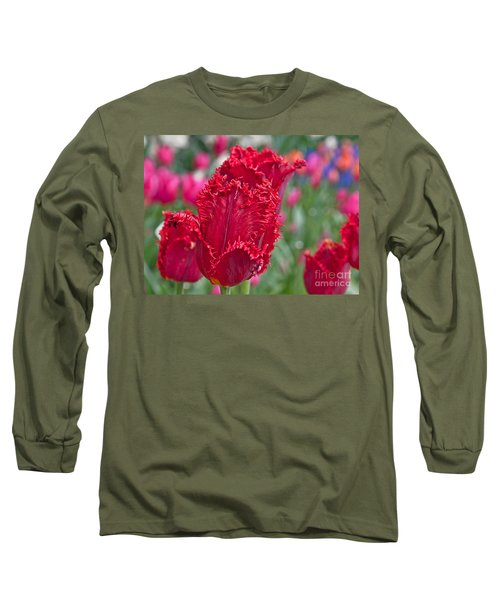 Red Fringed Tulip Flower Macro Art Prints Long Sleeve T-Shirt