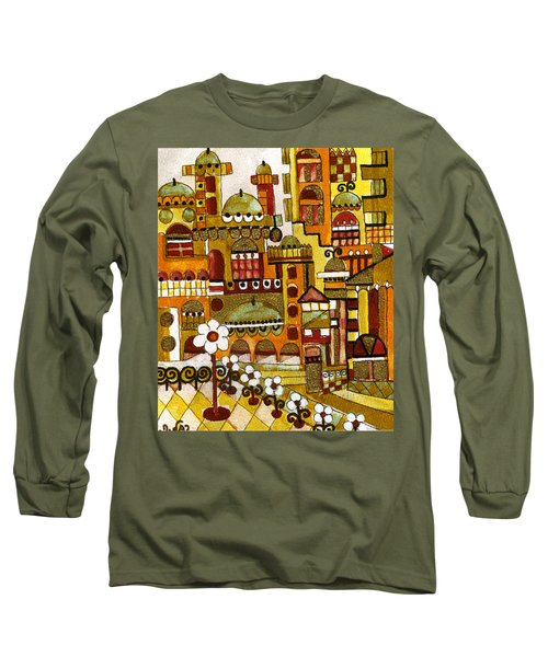 Red Kasba Skyline Landscape Art Of Old Town Dome And Minarett Decorated With Flower Arch In Orange Long Sleeve T-Shirt by Rachel Hershkovitz