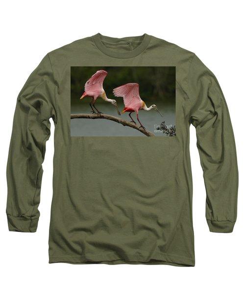 Rosiette Spoonbills Long Sleeve T-Shirt by Bob Christopher