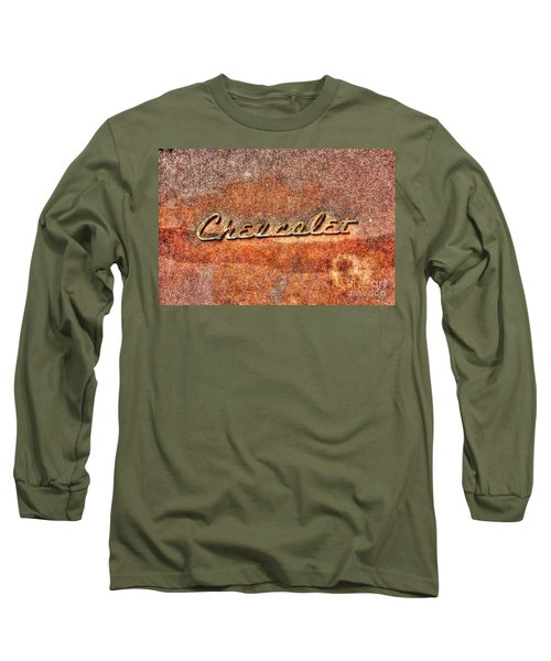 Rusted Antique Chevrolet Logo Long Sleeve T-Shirt by Dan Stone
