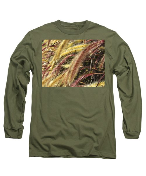 Setaria Italica Red Jewel - Red Bristle Grass Long Sleeve T-Shirt by Anne Mott