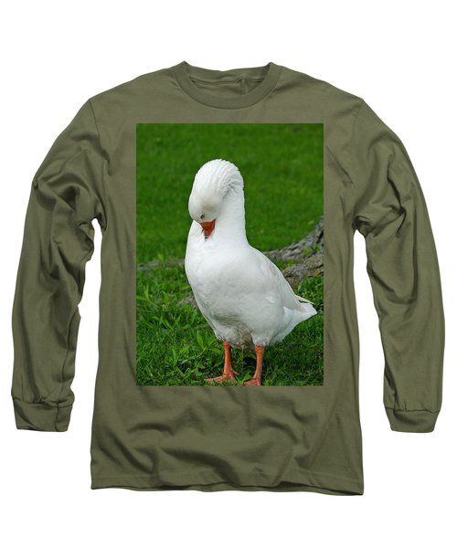 Long Sleeve T-Shirt featuring the photograph Shy Goose by Lisa Phillips