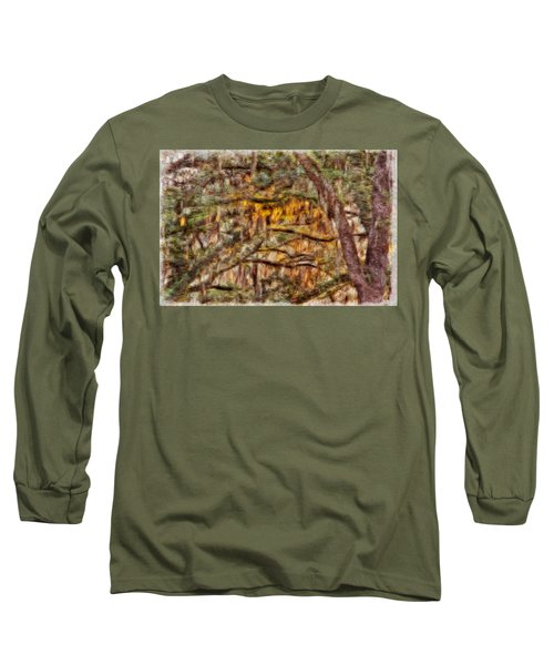 Spanish Moss And Sunset Long Sleeve T-Shirt by Tom Culver