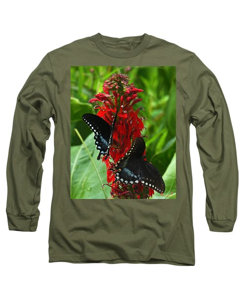 Spicebush Swallowtails Visiting Cardinal Lobelia Din041 Long Sleeve T-Shirt