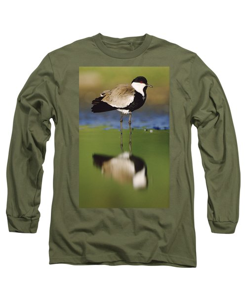 Spur Winged Plover With Its Reflection Long Sleeve T-Shirt by Tim Fitzharris