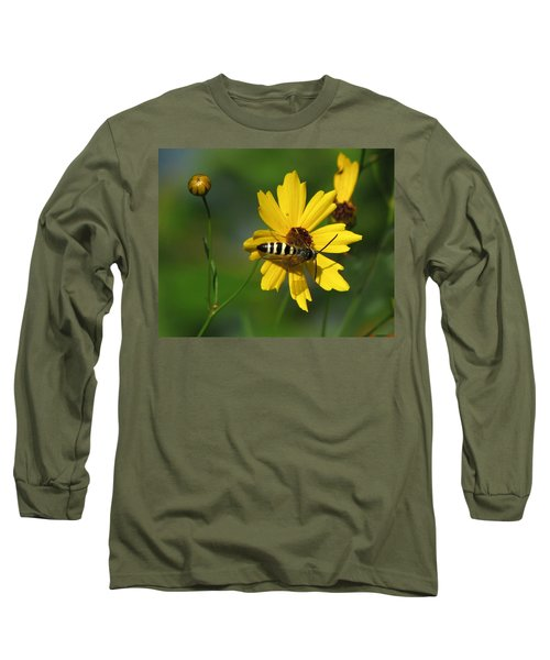 Striped Bee On Wildflower Long Sleeve T-Shirt
