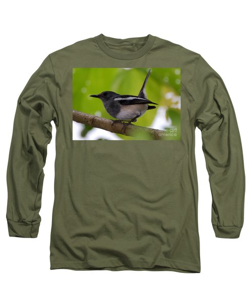 Long Sleeve T-Shirt featuring the photograph Study Of A Magpie-robin by Fotosas Photography