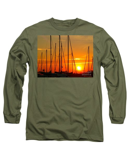 Sunset In A Harbour Digital Photo Painting Long Sleeve T-Shirt by Rogerio Mariani