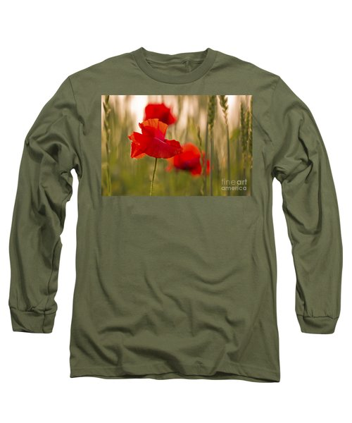 Long Sleeve T-Shirt featuring the photograph Sunset Poppies. by Clare Bambers