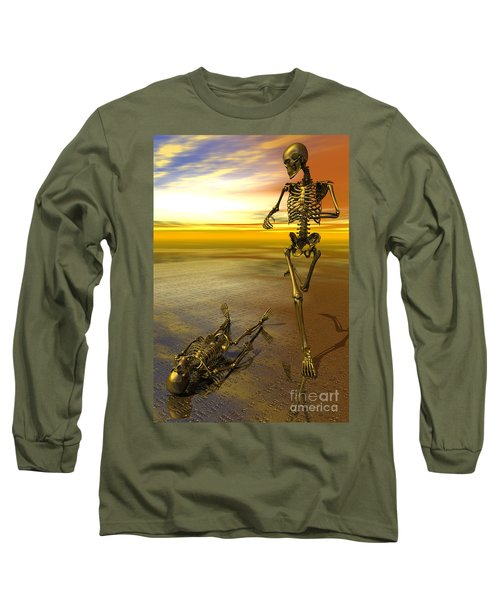 Surreal Skeleton Jogging Past Prone Skeleton With Sunset Long Sleeve T-Shirt