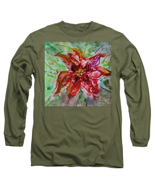 Long Sleeve T-Shirt featuring the painting The Christmas Poinsettia by Dragica  Micki Fortuna