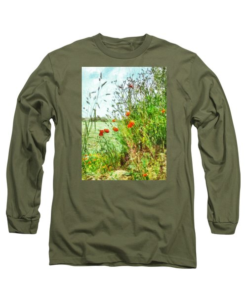 Long Sleeve T-Shirt featuring the digital art The Edge Of The Field by Steve Taylor