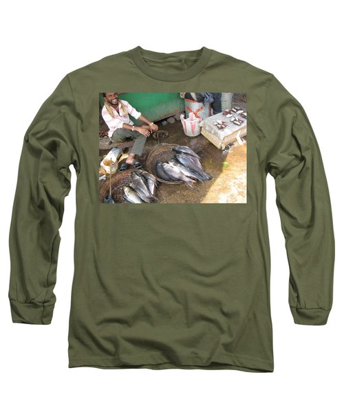 Long Sleeve T-Shirt featuring the photograph The Fish Seller by David Pantuso