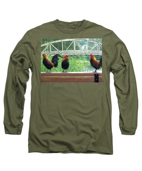 Three Roosters  Long Sleeve T-Shirt by Peter Mooyman