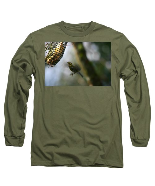 Long Sleeve T-Shirt featuring the photograph Townsend Warbler In Flight by Kym Backland