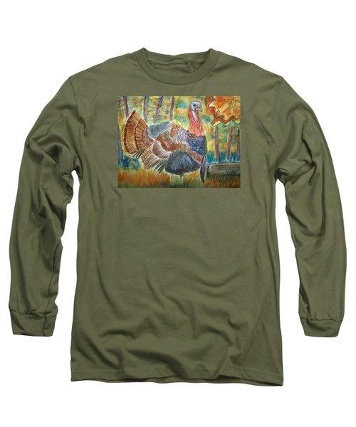 Turkey In Fall Long Sleeve T-Shirt by Belinda Lawson
