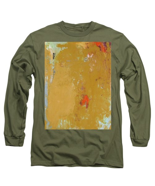 Untitled Abstract - Ochre Cinnabar Long Sleeve T-Shirt by Kathleen Grace