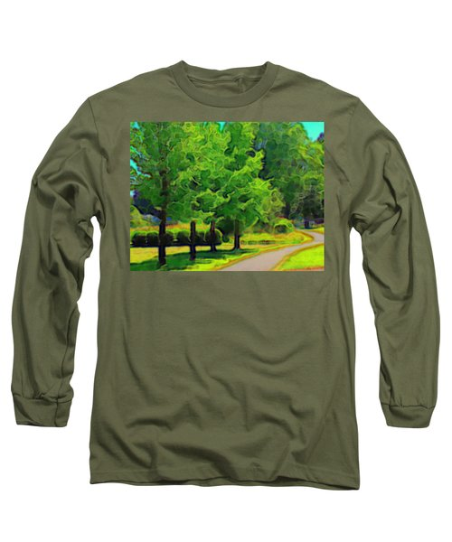 Long Sleeve T-Shirt featuring the mixed media Van Gogh Trees by Terence Morrissey