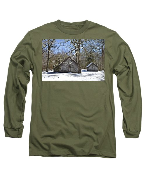 Vintage Buildings In The Winter Snow Long Sleeve T-Shirt