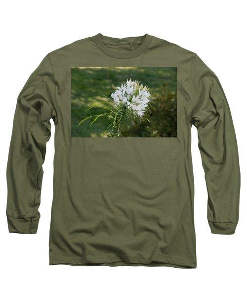 White Cleome Long Sleeve T-Shirt by Michael Bessler