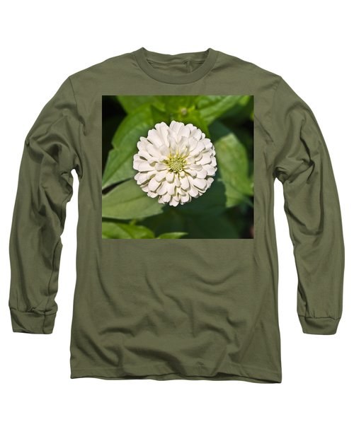 Long Sleeve T-Shirt featuring the photograph White Zinnia And Green Leaves by Susan Leggett