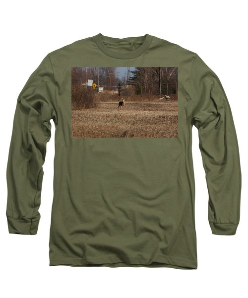 Whitetail Deer Long Sleeve T-Shirt by Randy J Heath