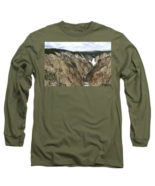 Wide View Of The Lower Falls In Yellowstone Long Sleeve T-Shirt by Living Color Photography Lorraine Lynch