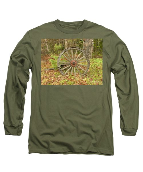 Long Sleeve T-Shirt featuring the photograph Wood Spoked Wheel by Sherman Perry