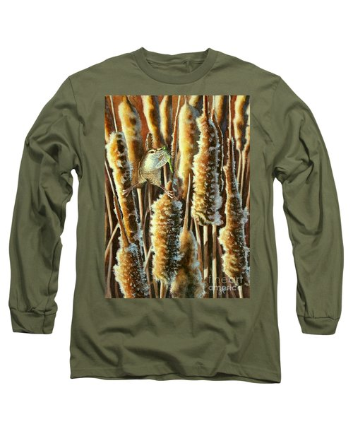 Wren And Cattails 2 Long Sleeve T-Shirt