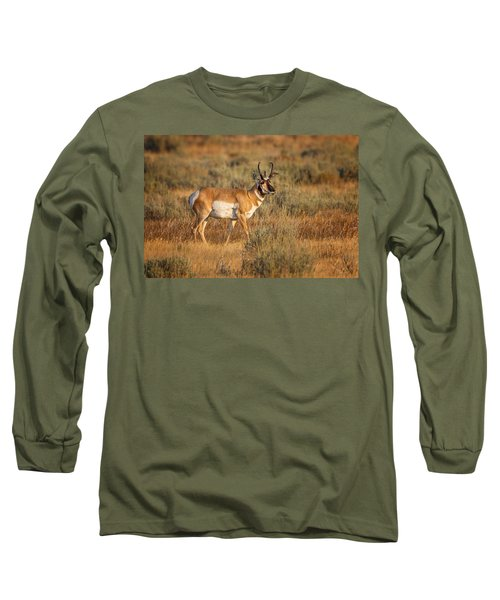 Wyoming Pronghorn Long Sleeve T-Shirt by Ronald Lutz