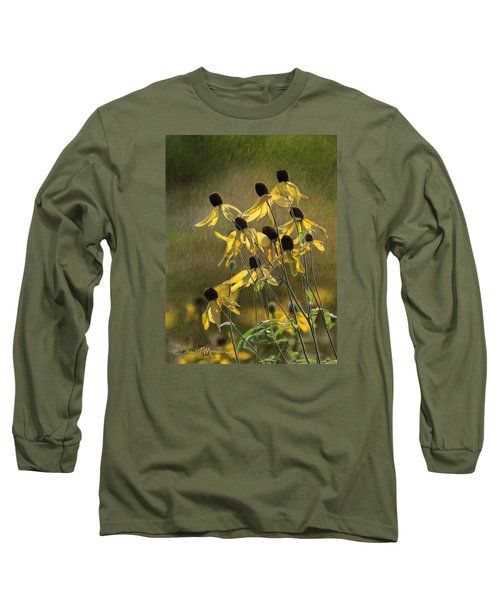 Yellow Coneflowers Long Sleeve T-Shirt by Bruce Morrison