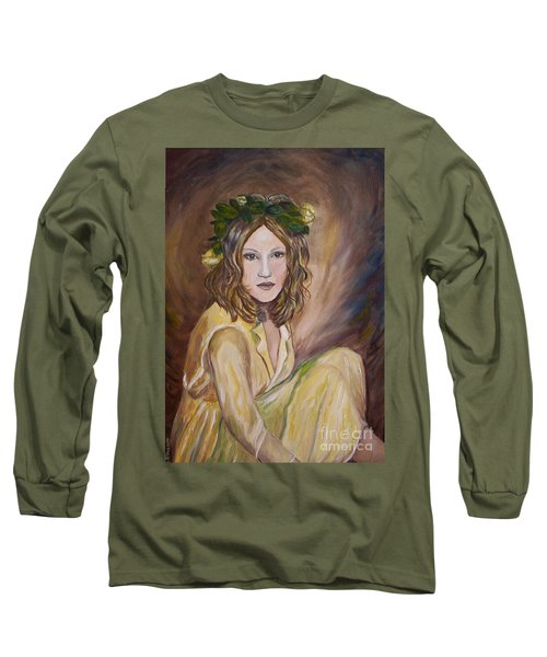 Long Sleeve T-Shirt featuring the painting Yellow Rose by Julie Brugh Riffey