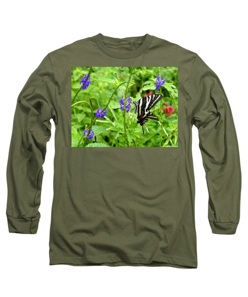 Zebra Swallowtail On Blue Porterweed Long Sleeve T-Shirt