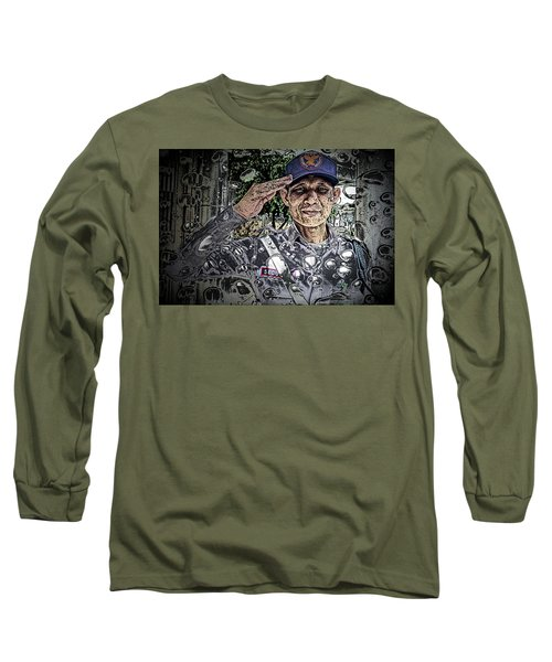 Bank Security Officer - On A Rainy Day Long Sleeve T-Shirt by Ian Gledhill