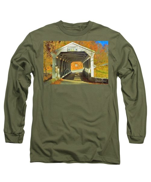 Long Sleeve T-Shirt featuring the photograph  Covered Bridge Watercolor  by David Zanzinger