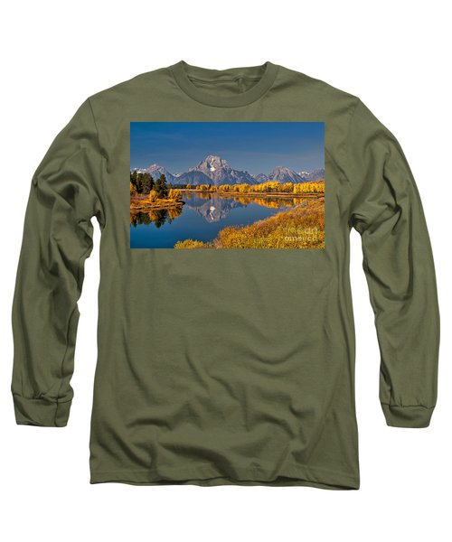 Fall Colors At Oxbow Bend In Grand Teton National Park Long Sleeve T-Shirt by Sam Antonio Photography
