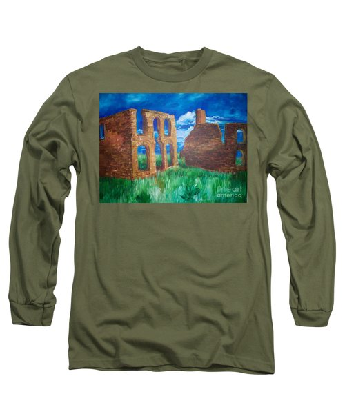 Long Sleeve T-Shirt featuring the painting  Ghost Town  by Eric  Schiabor