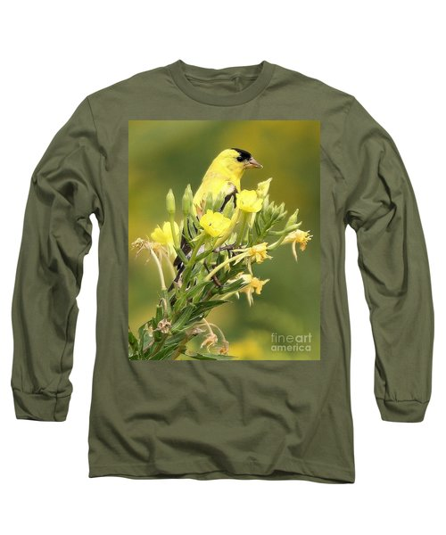 Goldfinch Long Sleeve T-Shirt by Debbie Stahre