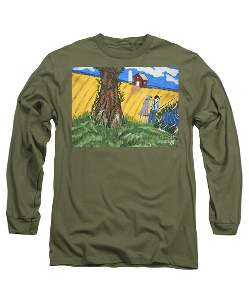 Long Sleeve T-Shirt featuring the painting  I Got A Big One. by Jeffrey Koss