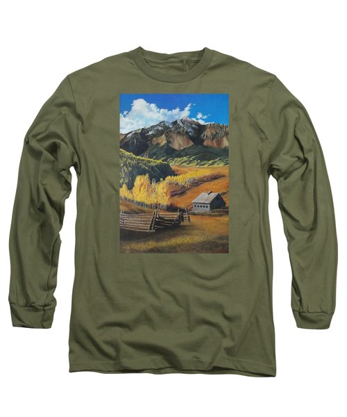 Long Sleeve T-Shirt featuring the painting  I Will Lift Up My Eyes To The Hills Autumn Nostalgia  Wilson Peak Colorado by Anastasia Savage Ealy