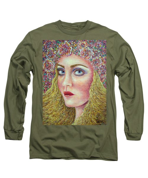 Long Sleeve T-Shirt featuring the painting   The Flower Girl by Natalie Holland