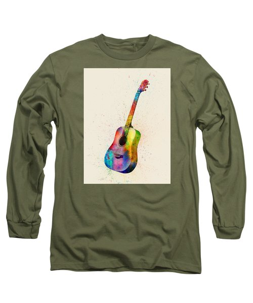 Acoustic Guitar Abstract Watercolor Long Sleeve T-Shirt