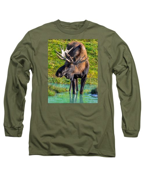 Alaska Moose 5 Long Sleeve T-Shirt by Brian Stevens