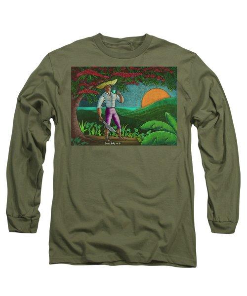 Amanecer En Borinquen Long Sleeve T-Shirt by Oscar Ortiz