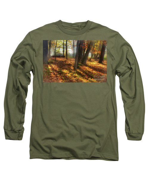 Long Sleeve T-Shirt featuring the painting Autumn Shadows In The Blue Ridge Ap by Dan Carmichael