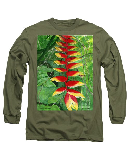 Long Sleeve T-Shirt featuring the painting Balinese Heliconia Rostrata by Melly Terpening