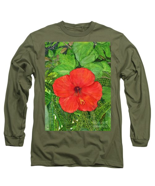 Long Sleeve T-Shirt featuring the painting Balinese Hibiscus Rosa by Melly Terpening