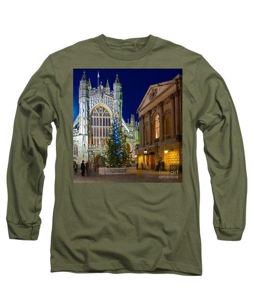 Bath Abbey At Night At Christmas Long Sleeve T-Shirt