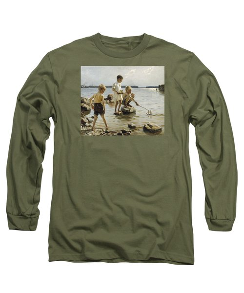 Boys Playing On The Shore Long Sleeve T-Shirt by Albert Edelfelt